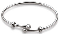 Teagan Collection by persona Sterling Silver Flexible Charm Bangle