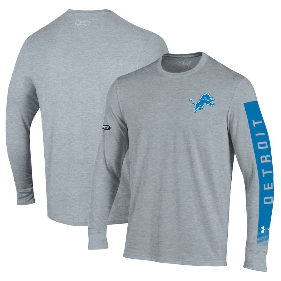 the latest 5ed12 17293 Detroit Lions Men's Under Armour Combine Authentic City Name Long Sleeve  T-Shirt – Heathered Gray