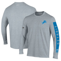 Detroit Lions Men's Under Armour Combine Authentic City Name Long Sleeve T-Shirt – Heathered Gray