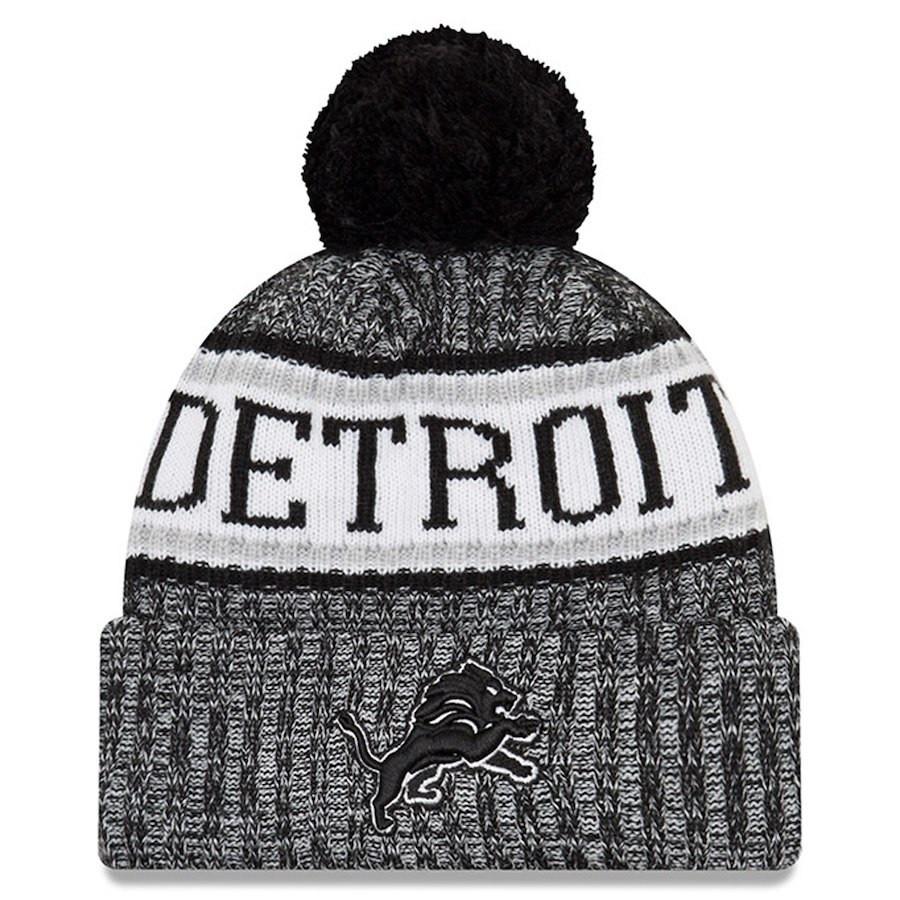72ab4b8dcdb ... Detroit Lions Men s New Era Black 2018 NFL Sideline Cold Weather  Official Sport Knit Hat. Image 1. Loading zoom