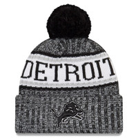 Detroit Lions Men's New Era Black 2018 NFL Sideline Cold Weather Official Sport Knit Hat