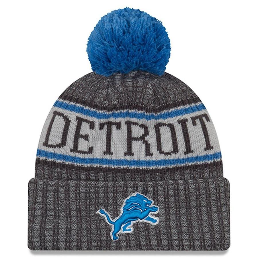 5a9b2f32 Detroit Lions Men's New Era Graphite 2018 NFL Sideline Cold Weather  Official Sport Knit Hat