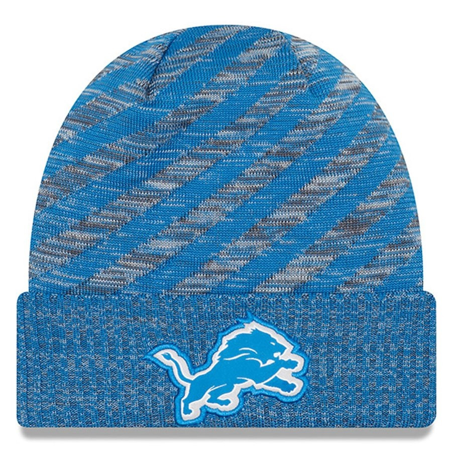 buy online f2447 4d456 Home · Hats  Detroit Lions Men s New Era Blue 2018 NFL Sideline Cold  Weather Official TD Knit Hat. Image 1. Loading zoom