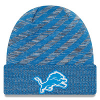 Detroit Lions Men's New Era Blue 2018 NFL Sideline Cold Weather Official TD Knit Hat