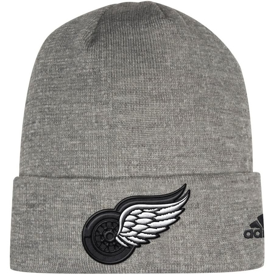 90178356fdba9e ... Detroit Red Wings Adidas India Cuffed Knit Hat – Charcoal. Image 1.  Loading zoom