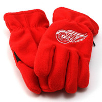 Detroit Red Wings Adidas Red Fleece Gloves