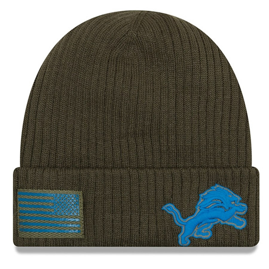 e6db5b849847d9 ... Detroit Lions New Era Olive 2018 Salute to Service Sideline Cuffed Knit  Hat. Image 1. Loading zoom