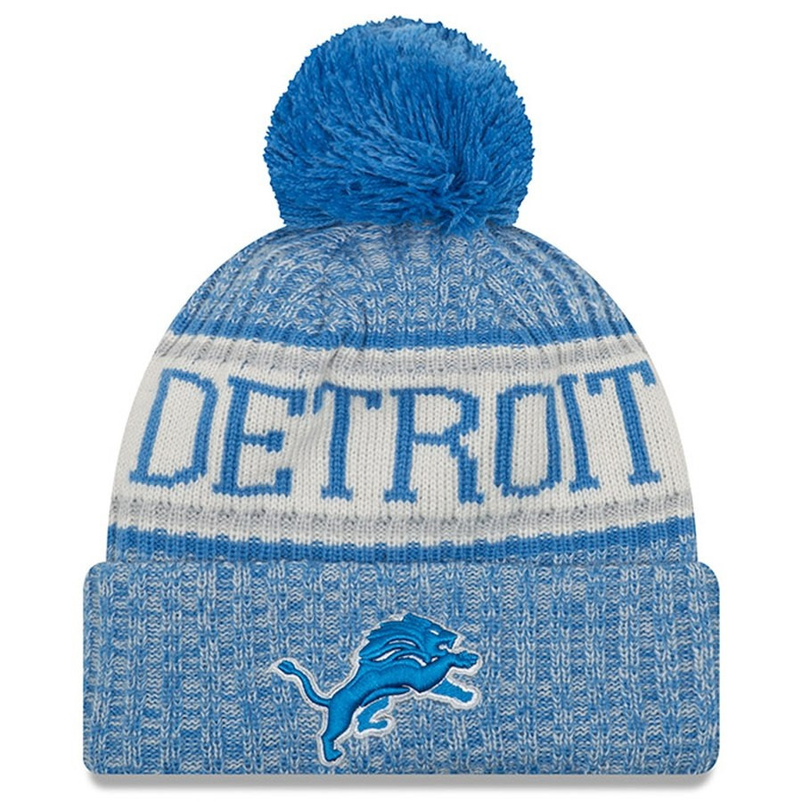 1e3099dee9a18b ... Detroit Lions New Era Blue 2018 NFL Sideline Cold Weather Official  Sport Knit Hat. Image 1. Loading zoom