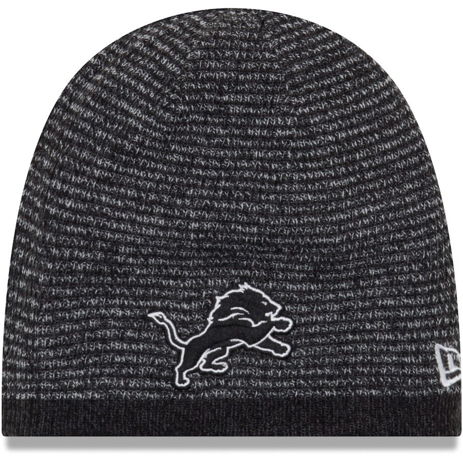 b5cc1278bf6a36 ... Detroit Lions New Era Black Reversible Basic Team Knit Beanie. Image 1.  Loading zoom