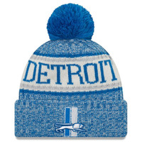 Detroit Lions New Era Blue 2018 NFL Sideline Cold Weather Official Historic Sport Knit Hat