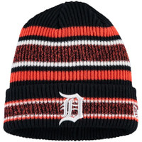 Detroit Tigers New Era Navy Vintage Stripe Cuffed Knit Hat