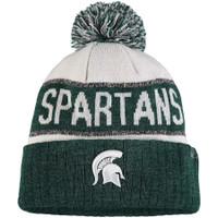 Michigan State University Top of the World Below Zero Cuffed Pom Knit Hat - White/Heather Green