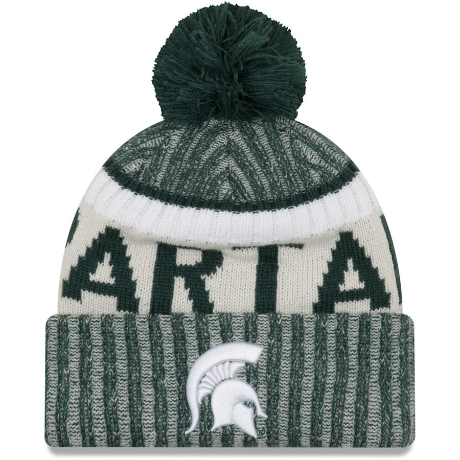online retailer 9d1c7 5089b ... low price michigan state university new era team sport cuffed knit hat  with pom green. ...