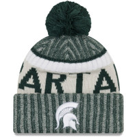 Michigan State University New Era Team Sport Cuffed Knit Hat With Pom – Green