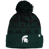 Michigan State University Top of the World Green Subarctic Cuffed Knit Hat with Pom