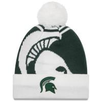 Michigan State University New Era Logo Whiz 2 Cuffed Knit Hat With Pom - Green