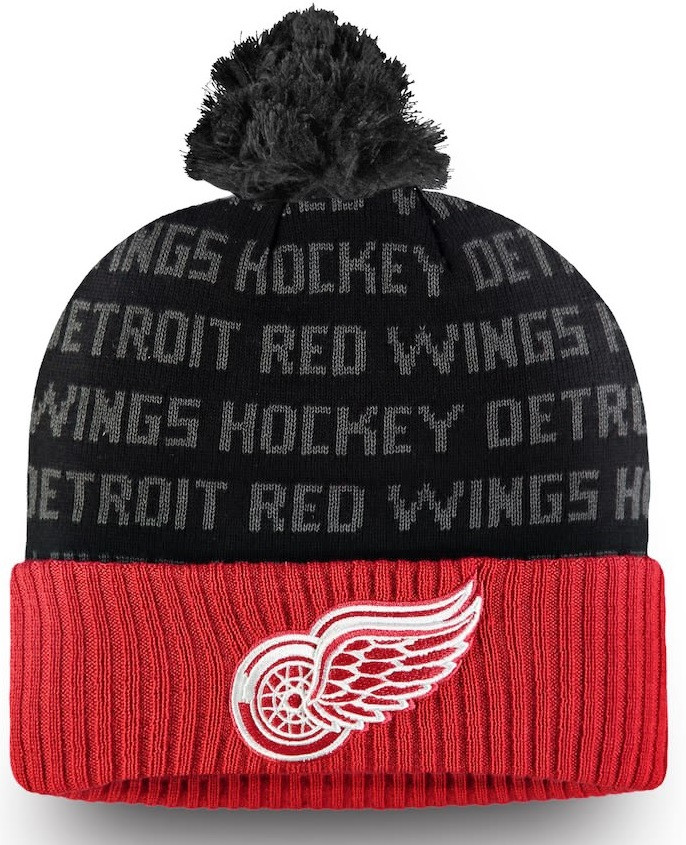 da8b1e1ee01 ... Detroit Red Wings Men s Fanatics Banded Red Black Authentic Pro  Rinkside Cuffed Knit Hat With Pom. Image 1