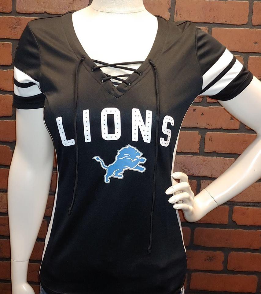 uk availability c742f bae1d Detroit Lions Women's 47 Brand Lace Up Rhinestone Jersey Shirt