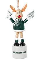 Michigan Wolverines Wooden Cheering Reindeer Ornament NCAA