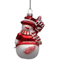 Detroit Red Wings Topperscot Glitter Snowman Ornament