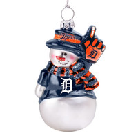 Detroit Tigers Topperscot Glitter Snowman Ornament