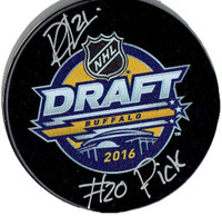 "Dennis Cholowski Autographed Draft Puck with ""#20 Pick"" Inscription"