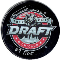 "Michael Rasmussen Autographed Draft Puck with ""#9 Pick"" Inscription"