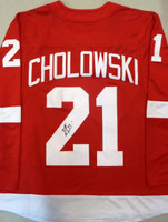 Dennis Cholowski Autographed Detroit Red Wings Home Jersey