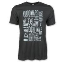 "Detroit City Men's Detroit Scroll ""Around the Block"" Crew Black T-Shirt"