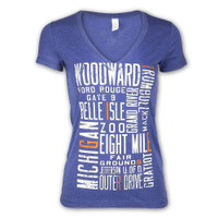 "Detroit City Women's Detroit Scroll ""Around the Block"" ""Around the Block"" Light Navy Tri-Blend V-Neck T-Shirt"