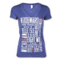 "Detroit City Women's Detroit Scroll ""Around the Block"" ""Around the Block"" Light Navy Tri-Blend V-Neck T-Shirt"