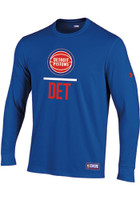 Detroit Pistons Youth Under Armour Blue Lockup Long Sleeve T Shirt