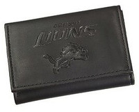 Detroit Lions Team Sports America Black Trifold Leather Wallet