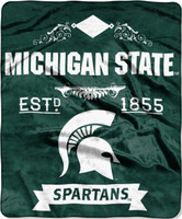 Michigan State University Northwest Royal Plush Raschel Blanket
