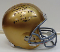 "Rudy Ruettiger Autographed Riddell Replica Full Size Notre Dame Helmet w/ ""The Sack"" Inscription"