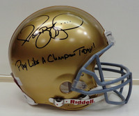 "Jerome Bettis Autographed Riddell Authentic Full Size Notre Dame Helmet w/ ""Play Like A Champion Today!"""