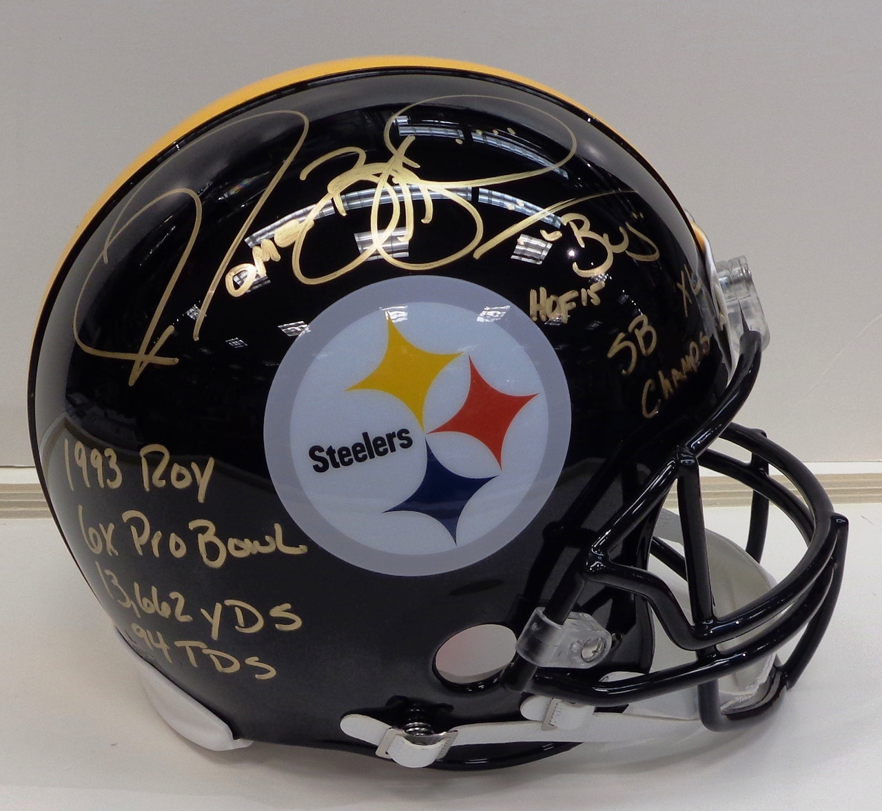 acffb188 Jerome Bettis Autographed Riddell Authentic Full Size Pittsburgh Steelers  Helmet with 7 Inscriptions