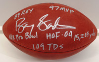 Barry Sanders Autographed Official NFL Football (Vintage Tagliabue Ball) with 6 Inscriptions
