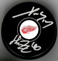 Henrik Zetterberg & Pavel Datsyuk Dual Autographed Detroit Red Wings Souvenir Puck