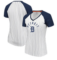 Detroit Tigers Women's Majestic White & Navy Paid Our Dues V-Neck T-Shirt
