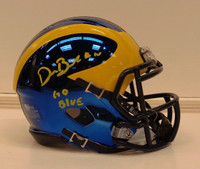 "Devin Bush, Jr. Autographed University of Michigan Chrome Mini Helmet with ""Go Blue"" Inscription"