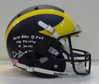 Devin Bush, Jr. Autographed Michigan Full Size Schutt Matte Replica Helmet with 3 Inscriptions