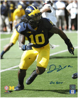 """Devin Bush, Jr. Autographed Michigan Wolverines 8x10 Photo #3 with """"Go Blue"""" Inscription"""