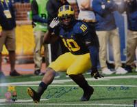 """Devin Bush, Jr. Autographed Michigan Wolverines 16x20 with """"Go Blue"""" Inscription"""