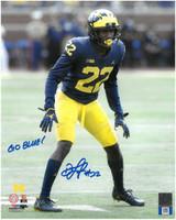 "David Long, Jr. Autographed Michigan Wolverines 8x10 with ""Go Blue"" Inscription"