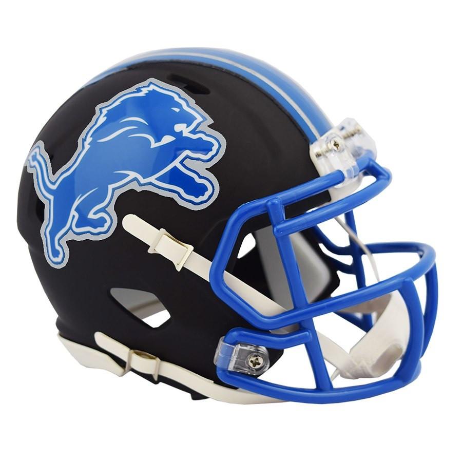 Detroit Lions Riddell Black Matte Alternate Speed Mini Football Helmet