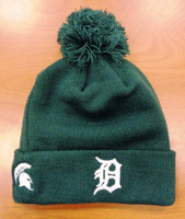 Detroit Tigers New Era Men's Knit Hat with Pom Featuring Michigan State Spartan Logo on Side