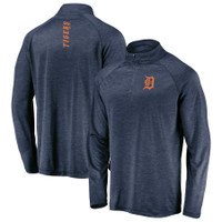 Detroit Tigers Men's Majestic Contenders Welcome Quarter-Zip Mock Neck Pullover Jacket – Navy