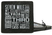 Detroit Scroll Street Names Recycled Tire Coasters, Set of 4