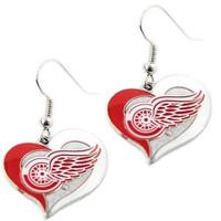 Detroit Red Wings Swirl Heart Dangle Earrings